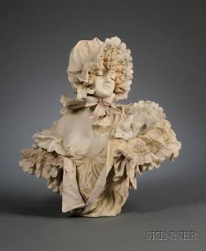 Ernst Stellmacher Art Nouveau Porcelain Bust of a Young Woman with Bonnet