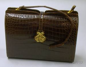 Vintage Nettie Rosenstein Brown Alligator Handbag