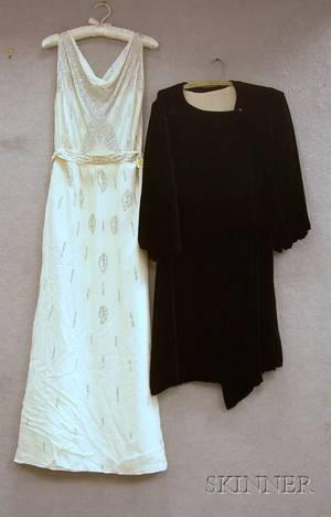 1920s Black Velvet Evening Coat and a 1920s30s White Silk Chiffon Rhinestone studded Party Dress