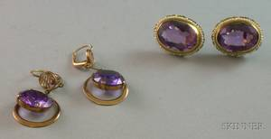 Pair of 14kt Gold Amethyst and Seed Pearl Earrings and a Pair of Synthetic Corundum Earrings