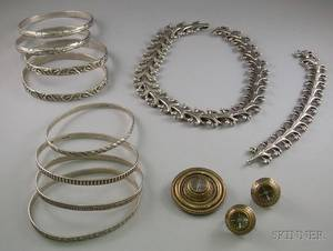 Eight Cini Sterling Silver Bangles and Two Cini Sterling Silver Suites