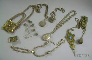 Assortment of Silver Filigree Jewelry and Hair Accessories Three Locket Pendant Necklaces and Another Necklace