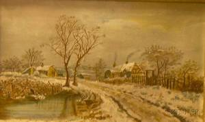 Framed 19th Century American School Oil on Canvas Depicting a Winter Landscape