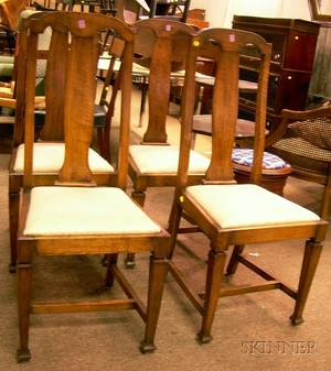 Set of Four Arts  Crafts Style Oak Side Chairs with Upholstered Slip Seats