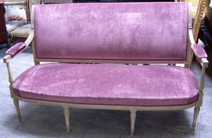 Louis XVI Style Upholstered Carved and Painted Wooden Openarm Sofa