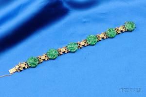 18kt Gold and Jadeite Bracelet Tiffany  Co