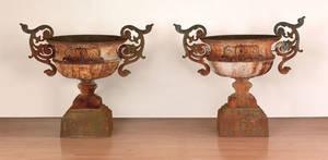 Massive pair of Philadelphia cast iron urns mid 19th c