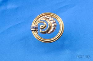 Retro 14kt Bicolor Gold and Sapphire Pin