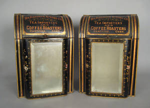 Pair of countertop tole tins by SA Ilsley  Co Brooklyn NY