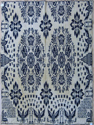 New York blue and white coverlet ca 1830