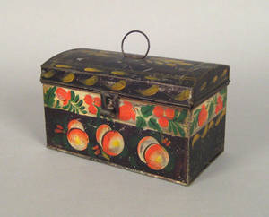 New England tole document box 19th c