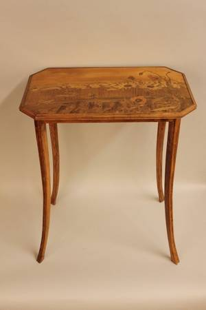 Emile Galle Marquetry Inlaid Floral Table
