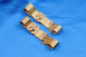 Pair of Victorian 14kt Gold and Enamel Bracelets