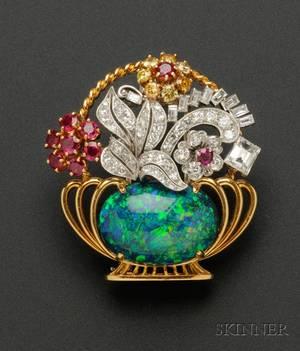 Black Opal Ruby Colored Diamond and Diamond Brooch Raymond Yard