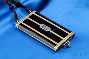 Art Deco 14kt Gold Enamel and Diamond Vanity Case