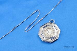Art Deco Platinum Sapphire and Diamond Open Face Pocket Watch Agassiz
