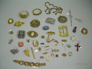 Group of Assorted Victorian and Later Costume Jewelry and Accessories