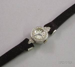 Ladys Art Deco Bulova Platinum and Diamond 17jewel Wristwatch