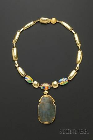 Artist Designed 24kt and 18kt Gold and Enamel Scarab Necklace Janiye