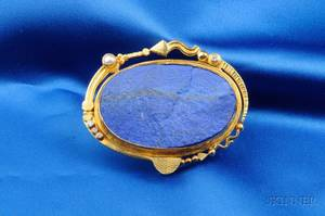 Contemporary 18kt and 22kt Gold and Lapis PendantBrooch