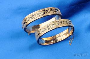 Pair of Antique 14kt Gold and Enamel Bracelets