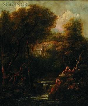 Manner of Jacob van Ruisdael Dutch c 16281682 The Cottage Above the Falls