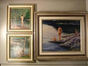 William Bryan Cronin American 20th Century Lot of Three Works of Bathers