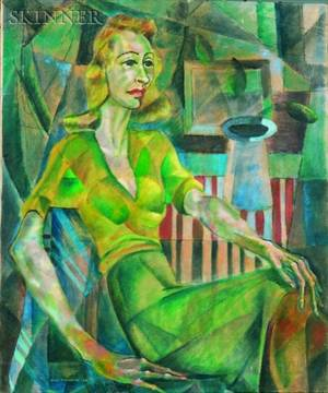 Edward Goldman American 19162006 Lady in Green