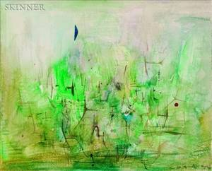Zao WouKi FrenchChinese b 1921 Abstract in Green