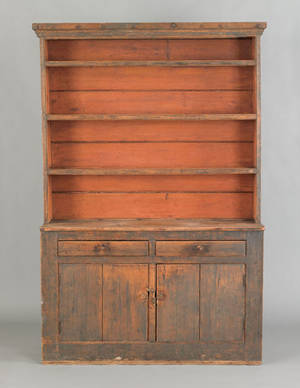 New England painted pine stepback cupboard ca 1800
