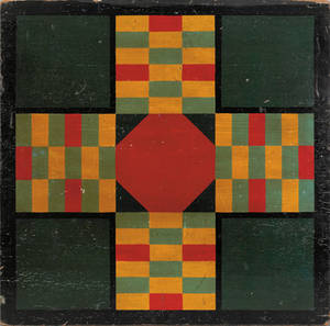 American painted parcheesi board late 19th c