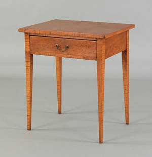 Pennsylvania Federal curly maple one drawer stand early 19th c