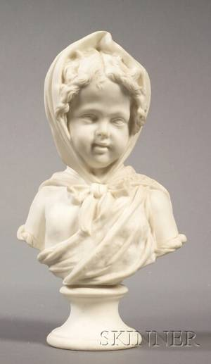 Staffordshire Parian Bust of a Young Girl