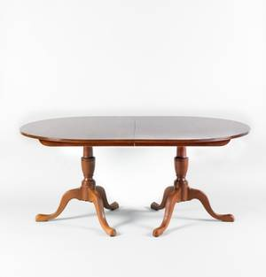 George III style double pedestal mahogany dining table with two 18 leaves