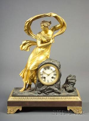 French Empire Revival Patinated and Gilt Bronze Figural Mantel Clock