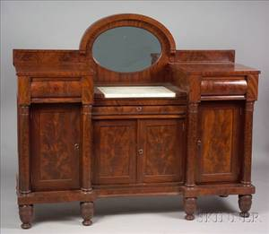 American Empire Mahogany Mirrored Sideboard