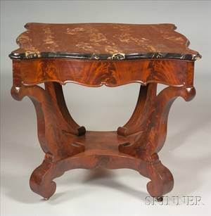 American Classical Mahogany Marbletop Center Table
