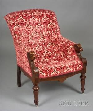 English Renaissance Revival Carved Walnut Parlor Chair