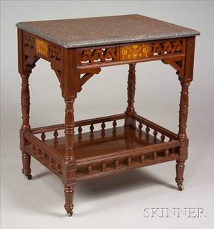 Aesthetic Movement Inlaid Mahogany and Marbletop Side Table