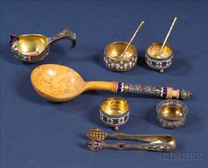 Seven Small Russian Silver and Enamel Tablewares