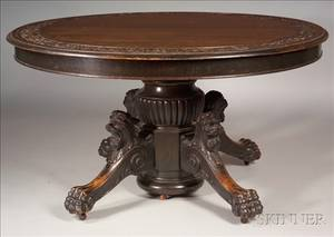 Renaissance Revival Carved Oak Extension Dining Table
