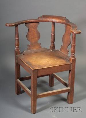 Provincial Georgian Oak Corner Chair