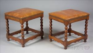 Pair of William and Mary Style Walnut and Leather Upholstered Stools