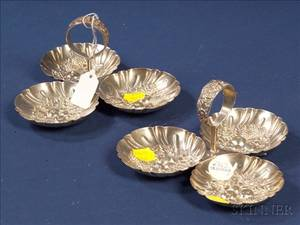 Pair of S Kirk  Son Inc Sterling Repousse Condiment Servers