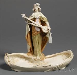 Royal Dux Porcelain Art Nouveau Figural Dish