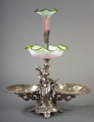 Art Nouveau Silver Plate and Blown Glass Epergne