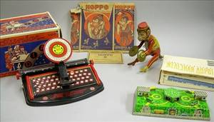 Three Mechanical Lithographed Tin Toys