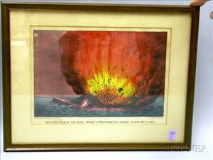 Framed Currier  Ives Small Folio Handcolored Civil War Lithograph