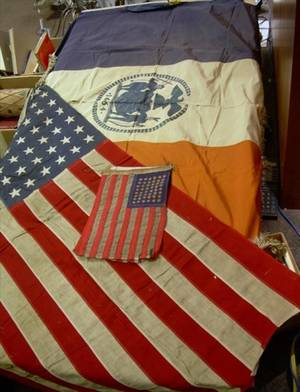Two Embroidered Silk New York Flags and Four 48Star American Flags