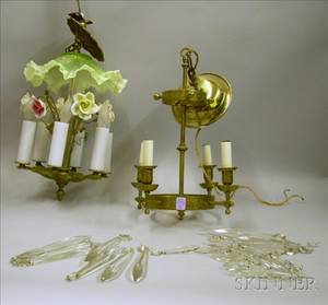 Renaissance Revival Cast Brass FourLight Chandelier with Prisms and a Continentalstyle Cast Metal Porcelain